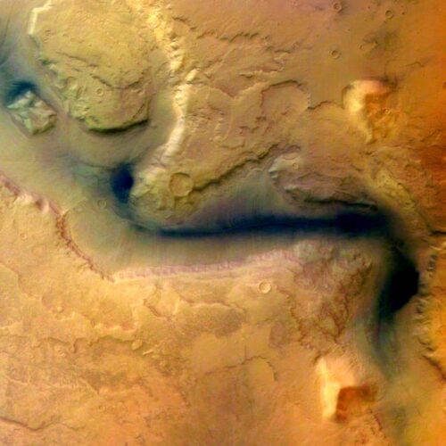Mars Verhaal 03 rivierbedding falsecolor Mars Express