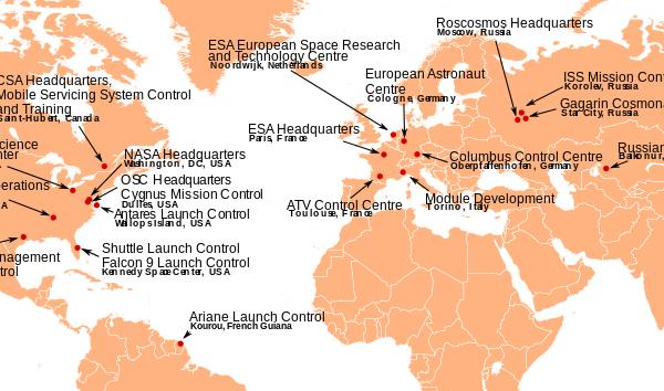 Uitsnede van een kaart van alle grondstations die betrokken zijn bij het ISS (klik op de afbeelding voor een PDF met uitgebreide info)