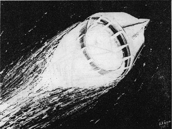 De SERV - Single-stage Earth Orbital Reusable Vehicle, zoals ontworpen door Chrysler in 1969. Chrysler was destijds een grote speler in de ruimtevaart.