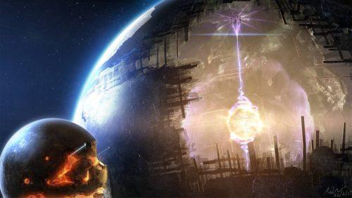 Een Dyson sphere bij een ster van een type II beschaving