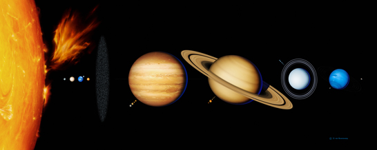 An artist rendition released by the European Space Agency on Wednesday, Nov. 28, 2007 shows the main bodies of the solar system, the Sun, Mercury, Venus, the Earth, from left in foreground, Uranus, Neptune, Saturn, Jupiter and Mars, from left in background. The Moon, the Earth's natural satellite, is seen at right in foreground, as the relative size of the orbits of the planets is not respected. Nearby planet Venus is looking a bit more Earth-like with frequent bursts of lightning confirmed by a new European space probe. For nearly three decades, astronomers have said Venus probably had lightning, ever since a 1978 NASA probe showed signs of electrical activity in its atmosphere. But experts were not sure because of signal interference. (AP Photo/ESA/HO) ** MAGAZINES OUT - NO SALES ** Original Filename: VENUS_LIGHTNING_PAR804.jpg