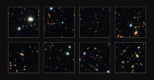 ESO's VISTA-surveytelescoop heeft een horde zware sterrenstelsels opgespoord die al bestonden toen het heelal nog in zijn kinderschoenen stond. Door meer van deze stelsels te ontdekken en onderzoeken zijn astronomen er voor het eerst achter gekomen wanneer deze monsterstelsels voor het eerst op het toneel verschenen. Op deze kleine uitsneden van het UltraVISTA-veld zijn enkele van de recent ontdekte zware stelsels vergroot afgebeeld. Credit: ESO/UltraVISTA team. Acknowledgement: TERAPIX/CNRS/INSU/CASU