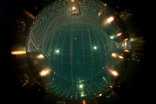 The Borexino detector comprises 300 tonnes of an organic liquid that is viewed by 2212 photomultipliers. (Courtesy: Borexino Collaboration)