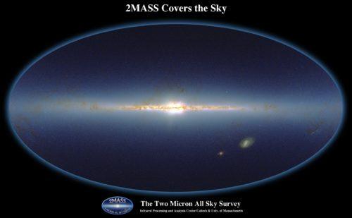 Opname van de hemel voor de 2MASS-infraroodsurvey, vergelijkbaar met Hubble-waarnemingen van de hele hemel in kleur (nabij-infrarood). De hier zichtbare sterren zijn merendeels heldere reuzensterren. Credit: Two-micron all sky survey (2MASS)