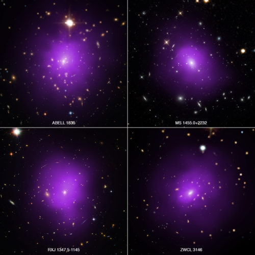 These four galaxy clusters were part of a large survey of over 300 clusters used to investigate dark energy, the mysterious energy that is currently driving the accelerating expansion of the Universe. In these composite images, X-rays from Chandra (purple) have been combined with optical light from Hubble and Sloan Digital Sky Survey (red, green, and blue). Researchers used a novel technique that takes advantage of the observation that the outer reaches of galaxy clusters, the largest structures in the universe held together by gravity, show similarity in their X-ray emission profiles and sizes.