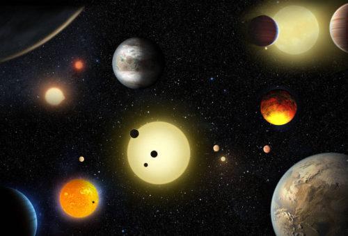Voorstelling van sommige door Kepler ontdekte exoplaneten. Credits: NASA/W. Stenzel