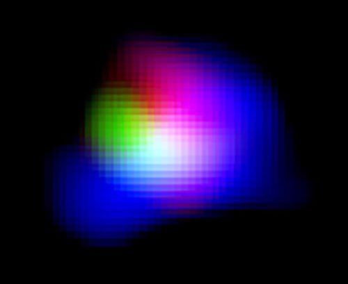 Samengestelde kleurenfoto van het verre sterrenstelsel SXDF-NB1006-2