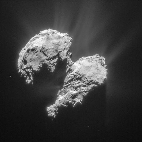 Komeet 67P, gefotografeerd op 22 maart 2015 met de NAVCAM van Rosetta. Credit: ESA/Rosetta/NAVCAM</p srcset=
