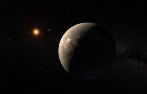 Artistieke weergave van de planeet die rond Proxima Centauri draait