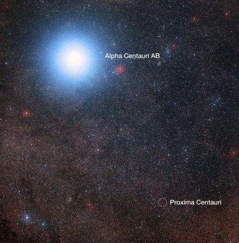 De hemel rond Alpha Centauri en Proxima Centauri (geannoteerd)