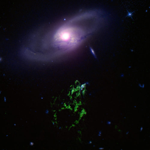 New data from Chandra and other telescopes of a cosmic 'blob' and a gas bubble could be a new way to probe the past activity of a giant black hole and its effect on its host galaxy. Hanny's Voorwerp, first discovered by a citizen scientist, is a gas cloud located next to the galaxy IC 2497. Astronomers think the giant black hole in IC 2497 used to power a quasar, generating radiation that illuminated Hanny's Voorwerp. Within the last 200,000 years the quasar has faded. The Chandra data suggest that jets powered by the black hole have blown a bubble in surrounding gas.