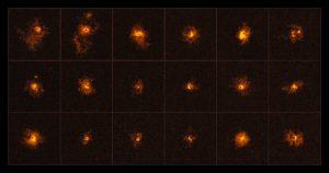 Deze fotocollage toont 18 van de 19 quasars die zijn waargenomen door een internationaal team van astronomen, onder leiding van de ETH Zürich, Zwitserland. Elke waargenomen quasar is omringd door een heldere halo van gas. Het is voor het eerst dat bij een quasarsurvey halo's rond alle waargenomen quasars zijn waargenomen. De ontdekking is gedaan met gebruikmaking van het MUSE-instrument van ESO's Very Large Telescope. Credit: ESO/Borisova et al.
