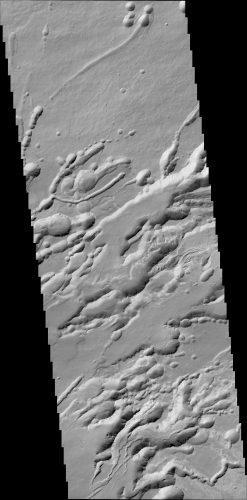 Het gebied Arsia Chasmata, gefotografeerd door het CaSSIS instrument