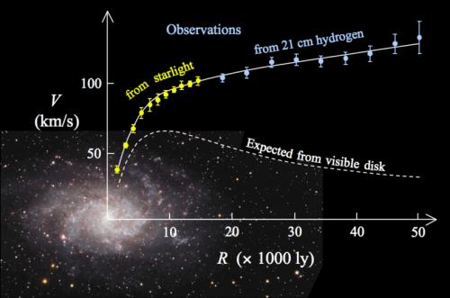 Draaisnelheden van sterren in een sterrenstelsel. Volgens Newtons zwaartekrachtswetten zouden sterren in de buitengebieden van sterrenstelsels langzamer moeten gaan bewegen naarmate de afstand tot de kern groter wordt. (Gestippelde lijn.) In de praktijk wordt echter waargenomen dat de snelheid gelijk blijft of, zoals in dit geval, zelfs toeneemt. (Doorgetrokken lijn.) Afbeelding: Stefania Deluca.