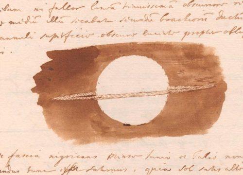 Tekening van Saturnus, gemaakt door Christiaan Huygens