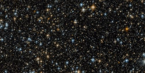 This image was captured by the NASA/ESA Hubble Space Telescope's Advanced Camera for Surveys (ACS), a highly efficient wide-field camera covering the optical and near-infrared parts of the spectrum. While this lovely image contains hundreds of distant stars and galaxies, one vital thing is missing — the object Hubble was actually studying at the time! This is not because the target has disappeared. The ACS actually uses two detectors: the first captures the object being studied — in this case an open star cluster known as NGC 299 — while the other detector images the patch of space just 'beneath' it. This is what can be seen here. Technically, this picture is merely a sidekick of the actual object of interest — but space is bursting with activity, and this field of bright celestial bodies offers plenty of interest on its own. It may initially seem to show just stars, but a closer look reveals many of these tiny objects to be galaxies. The spiral galaxies have arms curving out from a bright centre. The fuzzier, less clearly shaped galaxies might be ellipticals. Some of these galaxies contain millions and millions of stars, but are so distant that all of their starry residents are contained within just a small pinprick of light that appears to be the same size as a single star! The bright blue dots are very hot stars, sometimes distorted into crosses by the struts supporting Hubble's secondary mirror. The redder dots are cooler stars, possibly in the red giant phase when a dying star cools and expands.