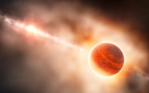 This artist's impression shows the formation of a gas giant planet in the ring of dust around the young star HD 100546. This system is also suspected to contain another large planet orbiting closer to the star. The newly-discovered object lies about 70 times further from its star than the Earth does from the Sun. This protoplanet is surrounded by a thick cloud of material so that, seen from this position, its star almost invisible and red in colour because of the scattering of light from the dust.