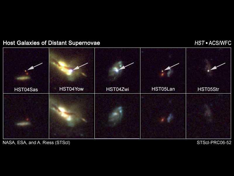 enkele van de waargenomen supernovae